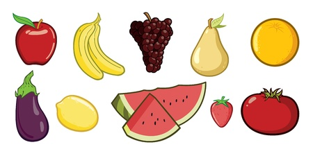 Vector cartoon set of different types of fruit. Stock Vector - 12093370