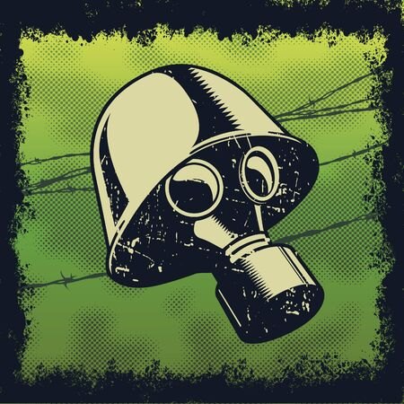 Colored gasmask illustration with background. Vector