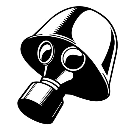 mascara de gas: Vector de blanco y negro máscara de gas y casco.