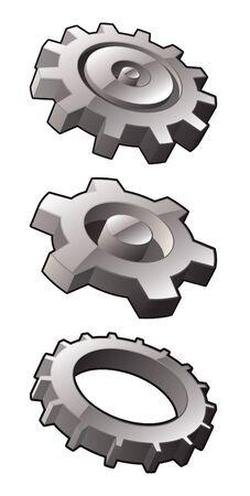 Set of three vector gear icons. Иллюстрация