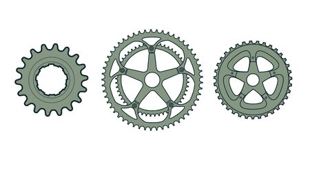 wheel spin: Set of three vector bike gears. Illustration