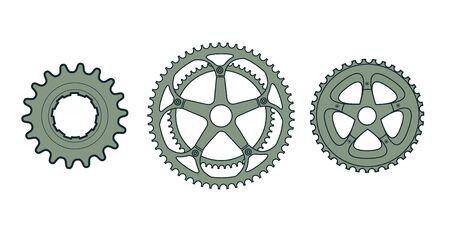 Set van drie vector fiets versnellingen. Stock Illustratie
