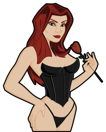 Vrouw in lingerie met rode roos Stock Illustratie