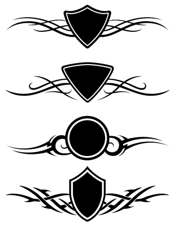 Vector tribal tattoo graphic ornaments set of three.