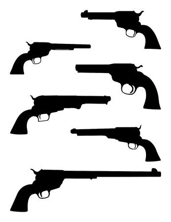 trigger: Vector set of pistol silhouettes Illustration