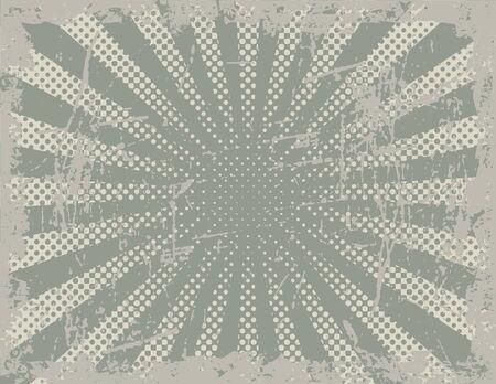 Vector illustratie van een grunge achtergrond met behulp van halftone stralen en scratch texturen. Stock Illustratie