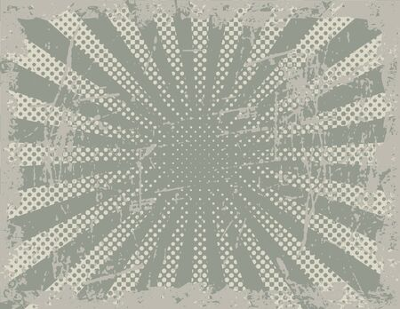 Vector illustration of a grunge background using halftone rays and scratch textures. Ilustração