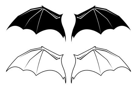 黒と白のバット翼イラスト。  イラスト・ベクター素材