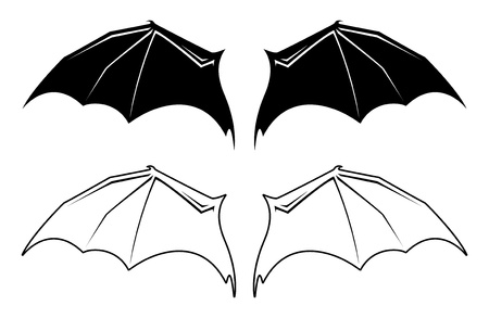 fanned: Black and white bat wing illustrations.