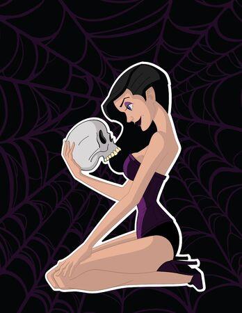 """Vector illustratie van een aantrekkelijke """"goth"""" vrouw op zoek naar een schedel."""