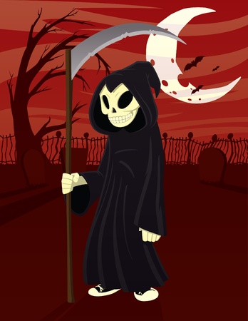 adolescent: Cartoon illustration of an adolescent Grim Reaper with a graveyard background.