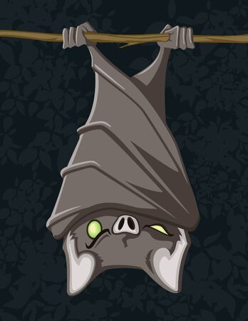 Cartoon vector illustration of a hanging bat.