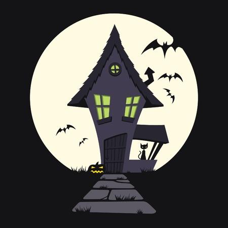 Cartoon illustration of a haunted house. 向量圖像