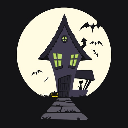 Cartoon illustration of a haunted house. Vector