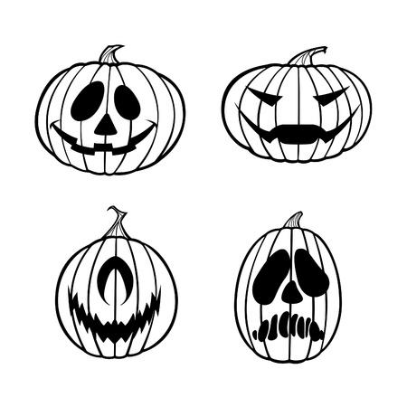 Zwart-wit illustratie van vier Jack o Lantaarns.
