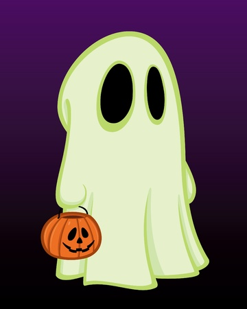 Vector cartoon illustration of a little kid in a ghost costume