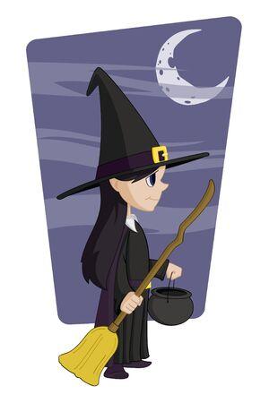Vector cartoon illustratie van een meisje in een heks kostuum.