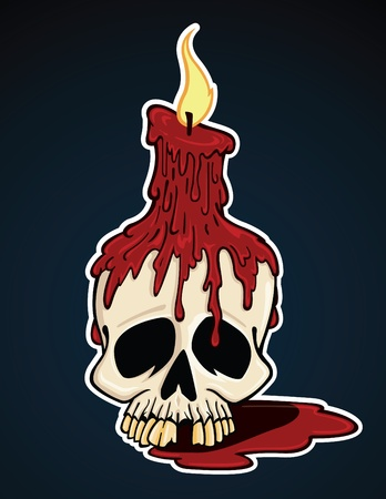 Vector cartoon illustration of a macabre skull and melting candle.