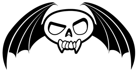 Black and white cartoon icon of a winged skull. Vector
