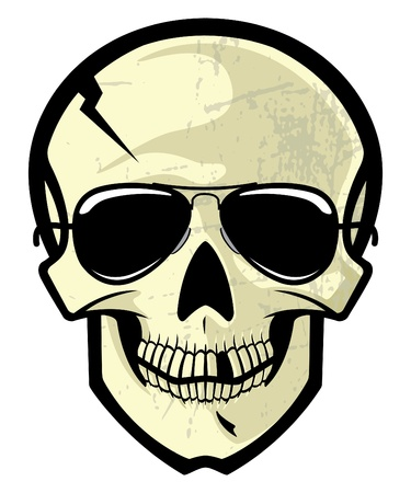 Vector cartoon illustration of a human skull with sun glasses.