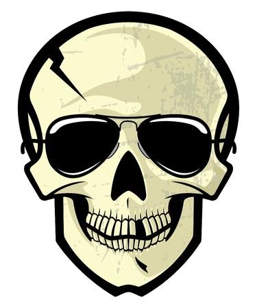 sun glasses: Vector cartoon illustration of a human skull with sun glasses.