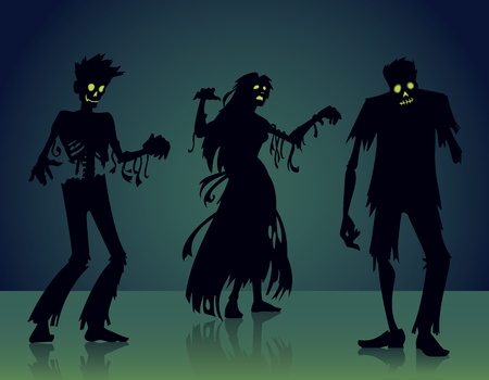 living skull: Vector Zombie Silhouettes