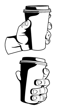 hand holding paper: Hand with Coffee Cup Illustration
