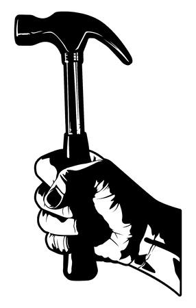 ハンマーを持っている手  イラスト・ベクター素材