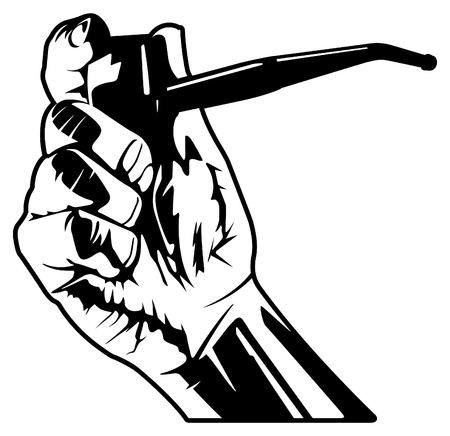 smoking pipe: Hand Holding a Smoking Pipe Illustration
