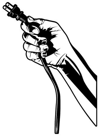 電気プラグを持っている手