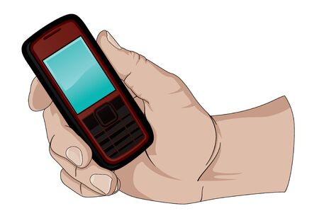 Holding a Cell Phone Vector