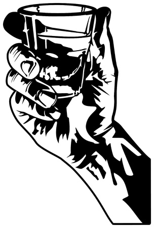 whiskey glass: Hand Holding a Shot Glass Illustration