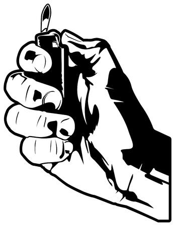 lighter: Hand with Lighter Illustration
