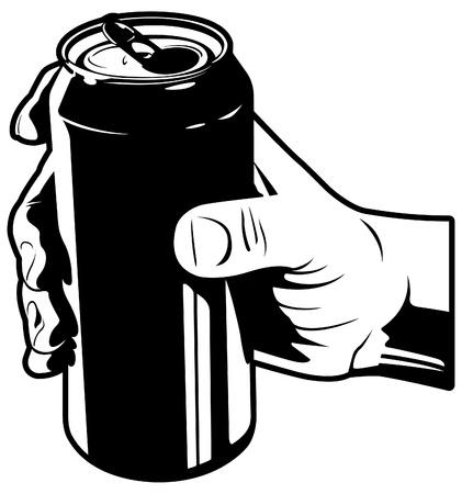 Hand met frisdrankblikje Stock Illustratie