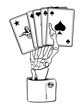 카드와 해골 손 일러스트