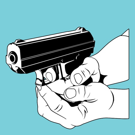 mano pistola: Prendendo la mira Vettoriali