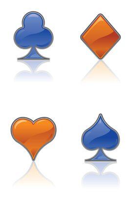 Blue and Orange Card Suit Icons Illusztráció