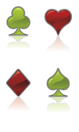Red and Green Card Suit Icons