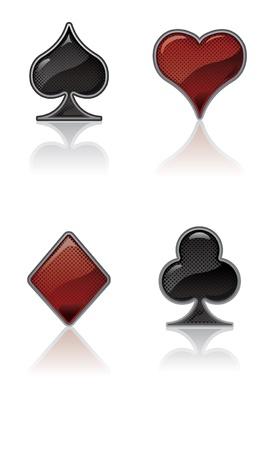Black and Red Card Suit Icons Illusztráció