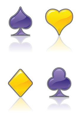 coeur diamant: Costumes de carte jaune et pourpre