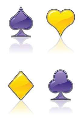 heart diamond: Yellow and Purple Card Suits