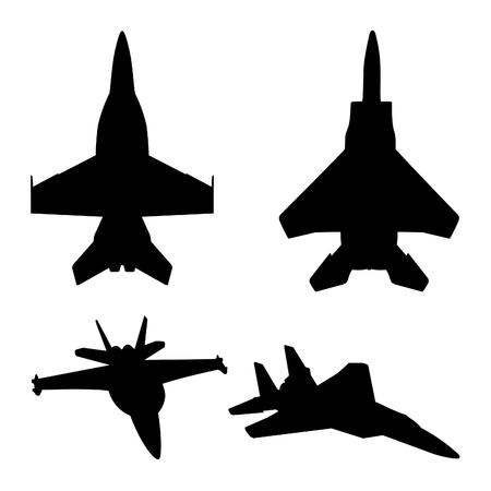 ジェット戦闘機のシルエット (15 F と F 18)