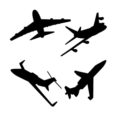 ジェット航空機シルエット  イラスト・ベクター素材