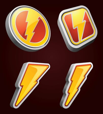 Lightning Bolt Icons Stock Vector - 12097335