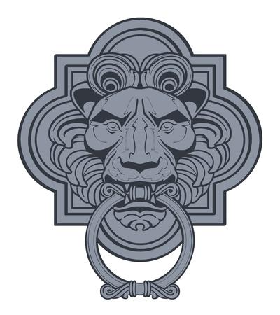 ライオン ヘッド ドアノッカー  イラスト・ベクター素材