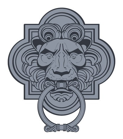 ferocious: Lion Head Door Knocker Illustration