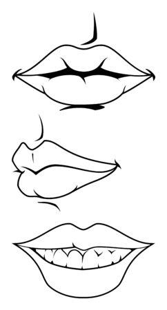 Vector vrouwelijke lippen Stock Illustratie