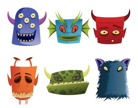 Six Monster Head Icons Vector