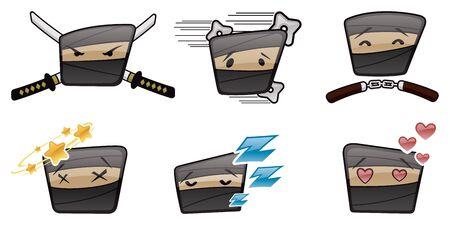 Ninja Head Emoticons Vector