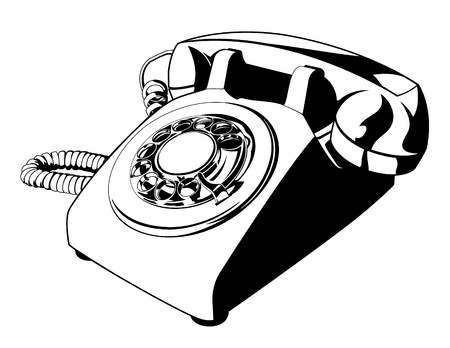 Old Rotary Telephone One Color Illustration